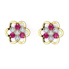 The Hedonistic Pink Stone & American Diamond Earring Stud