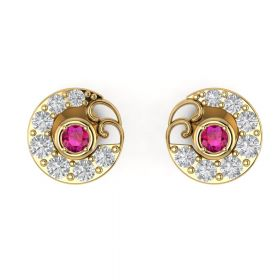 The Ostentatious Pink Sone & American Diamond Earring Stud
