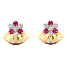 The Exclusive Pink Stone & American Diamond Earring Stud