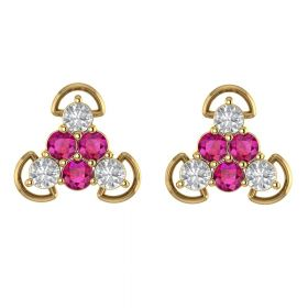 The Unpredictable Pink Stone & American Diamond Earring Stud