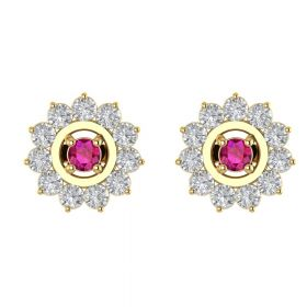 The Fictitious Pink Stone & American Diamond Earring Stud
