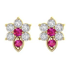 The Visionary Pink Stone & American Diamond Earring Stud