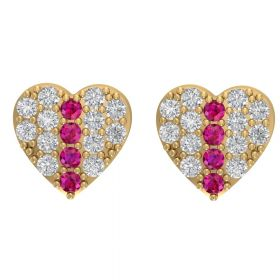 The unbelievable Pink Stone & American Diamond Earring Stud