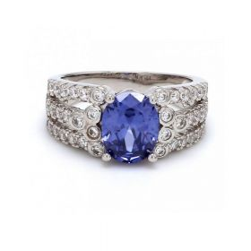 Silver Ring with Oval Sapphire & American Diamonds