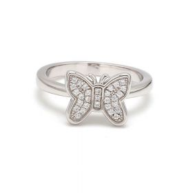 Silver Butterfly Ring with American Diamonds
