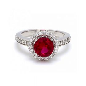 Red Zircon Stone with American Diamond Ring