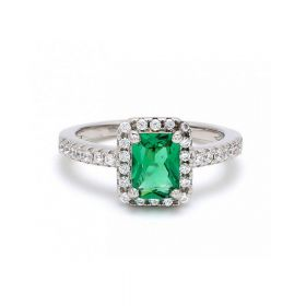 Green Zircon Stone With American Diamond Ring