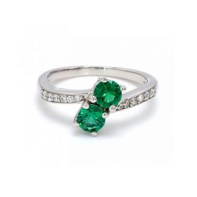 Double Green Zircon Stone With American Diamond Ring