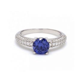Blue Sapphire Stone With American Diamond Silver Ring